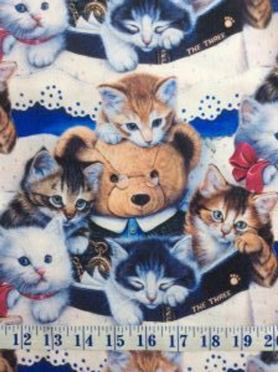 Kittens and Teddy Bears Digitally Printed Cotton Quilting Fabric 1/2 YARD