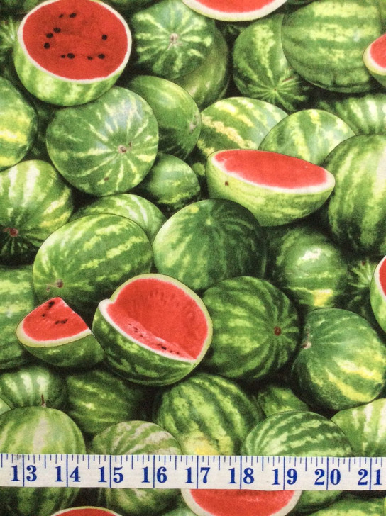 Watermelons Green Food Festival Cotton Quilting Fabric