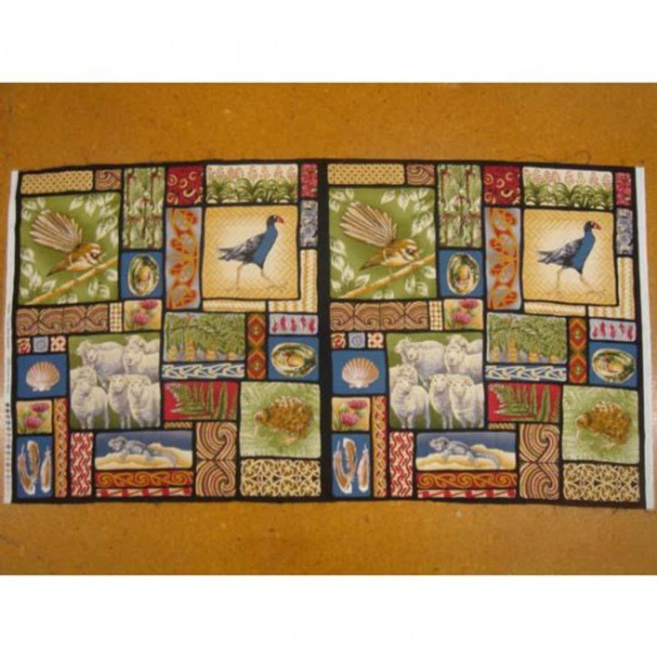 New Zealand Kiwi Animal Sheep and Floral Cotton Quilting Fabric Panel