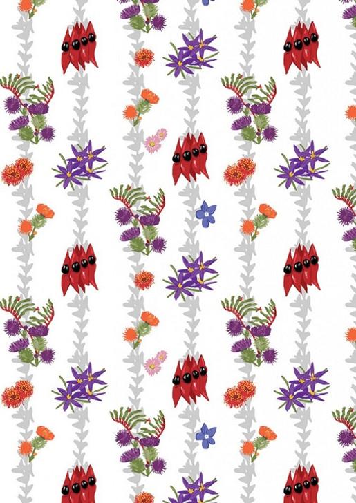 Aussie Flower Garden Wildflower Stripe Cotton Quilting Fabric 1/2 YARD
