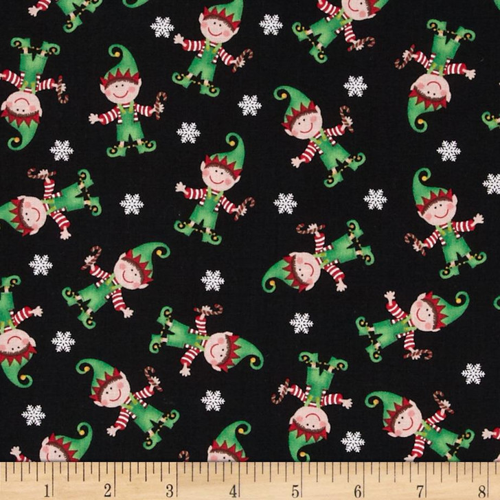 Christmas Jingle All the Way Elves Cotton FLANNEL Quilting Fabric 1/2 YARD
