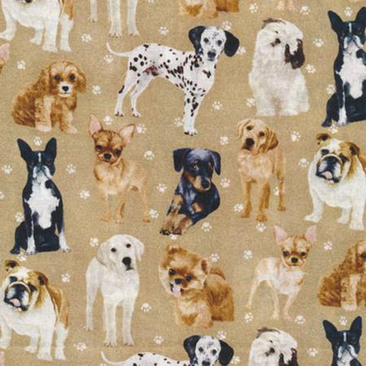 Dogs and Paws Brown Bulldog Cocker Spaniel Pomeranian Cotton Quilting Fabric