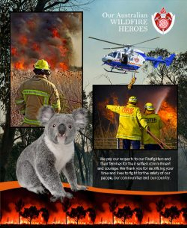 Honouring Australia's Firemen Wildfire Heroes 0109/A Cotton Quilting Fabric Panel