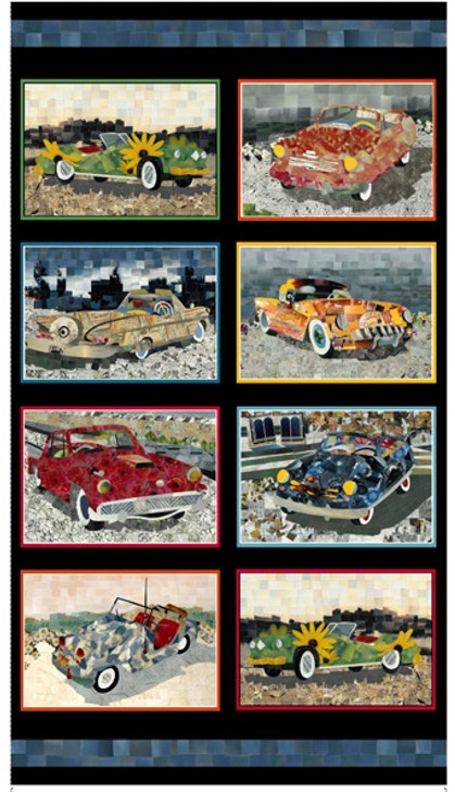 Car Patches Panel Artworks XIII Cotton Quilting Fabric Panel