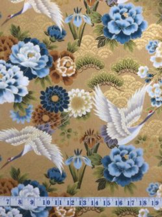 Cranes Flowers Silver Highlights Kio Beige Japanese Asian Cotton Quilting Fabric 1/2 YARD