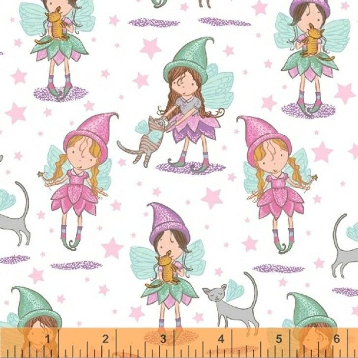 Cubby Bear FLANNEL Fairies and Cats White Cotton Fabric 1/2 YARD