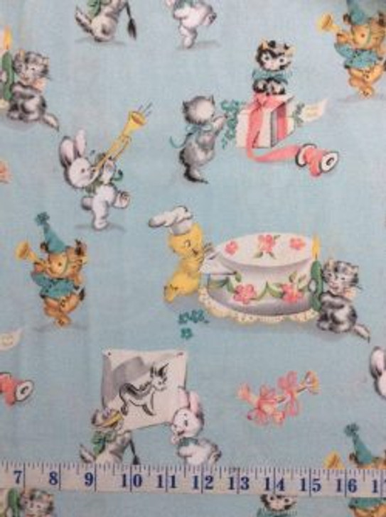 Perfect Party Kittens Bunnies Blue Cotton Quilting Fabric 1/2 YARD
