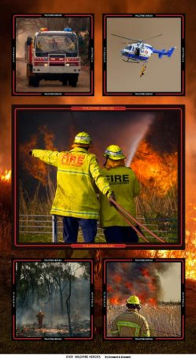 Honouring Australia's Firemen Wildfire Heroes 0109/C Cotton Quilting Fabric Panel