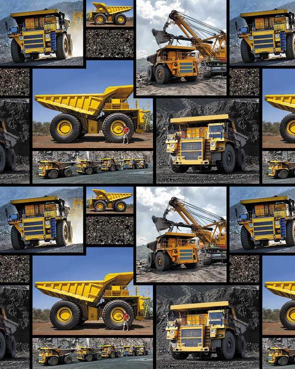 Trucks Mining Trucks Blocks Allover Cotton Quilting Fabric 1/2 YARD