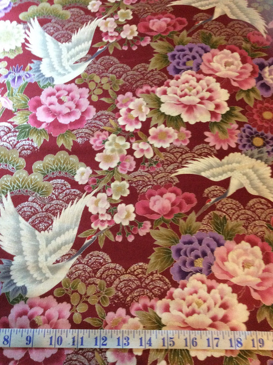 Cranes Flowers Silver Highlights Kio Red Japanese Asian Cotton Quilting Fabric 1/2 YARD
