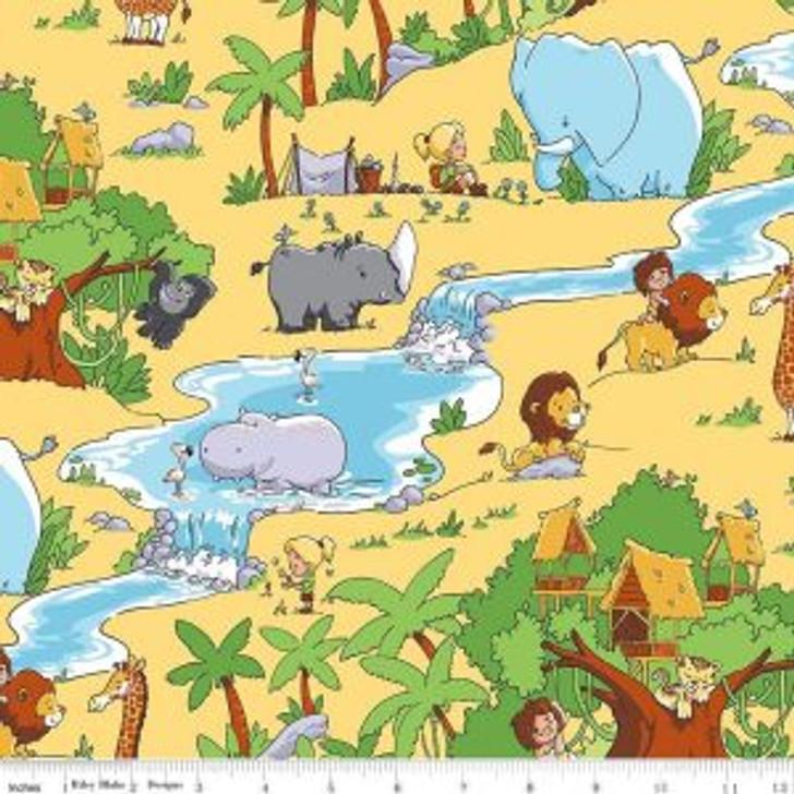 Tarzanimals Main Yellow Jungle Animals Tarzan Jane Cotton Quilting Fabric 1/2 YARD