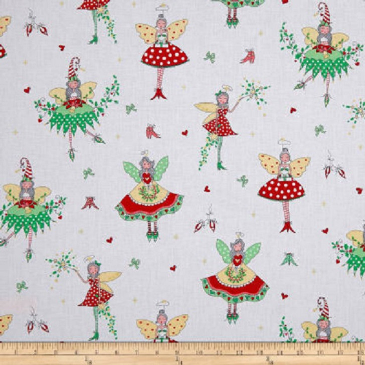 Hollywood Pixies Holly Metallic Gold Highlights Michael Miller Cotton Quilting Fabric 1/2 YARD