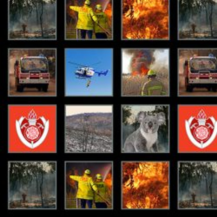 Honouring Australia's Firemen Wildfire Heroes 0109/D Blocks Cotton Quilting Fabric 1/2 YARD