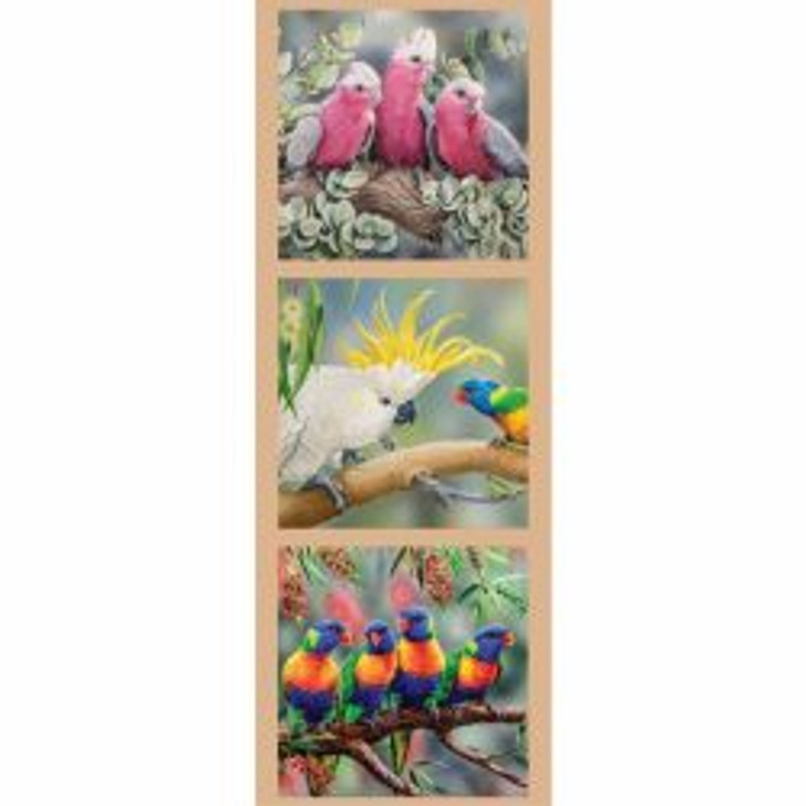 Australian Wildlife Art 2 Galah Cockatoos Lorikeets Cotton Quilting Fabric Small Panel