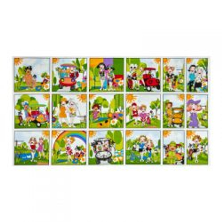 Golf Happy Girls by Loralie Cotton Quilting Fabric Panel