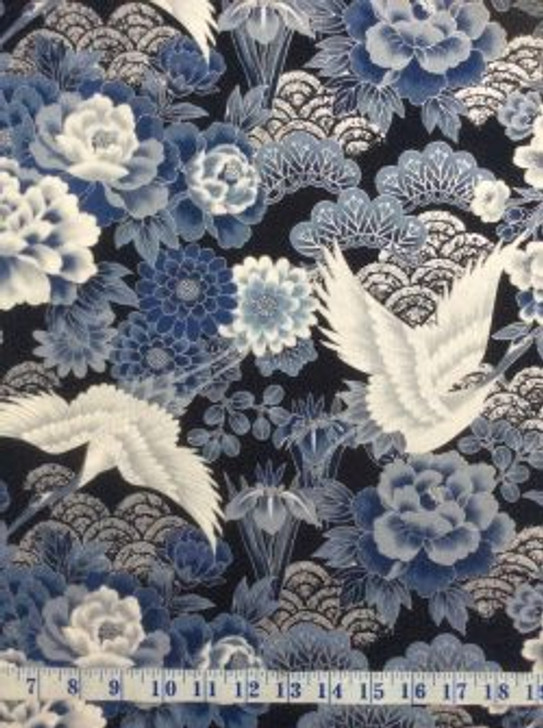 Cranes Flowers Silver Highlights Kio Blue Japanese Asian Cotton Quilting Fabric 1/2 YARD