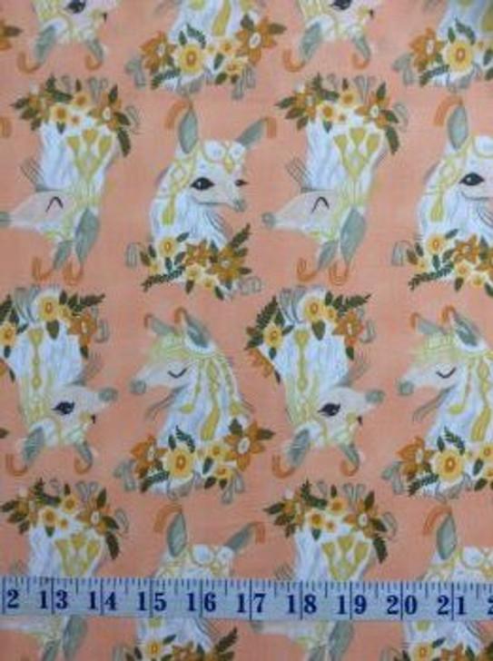 Llama Creampuffs Head Busts Cotton Quilting Fabric 1/2 YARD