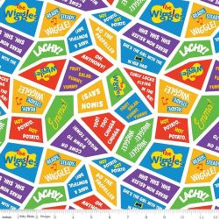 The Wiggles Ready Steady Wiggle Wiggles Songs Multi Cotton Quilting Fabric 1/2 YARD