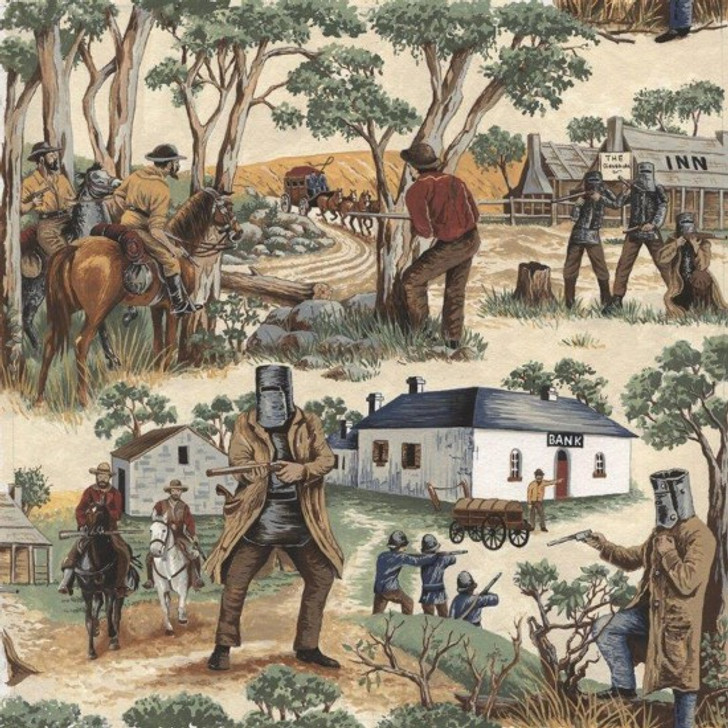 Ned Kelly Australian Bushranger Outlaw Gang Cotton Quilting Fabric 1/2 YARD