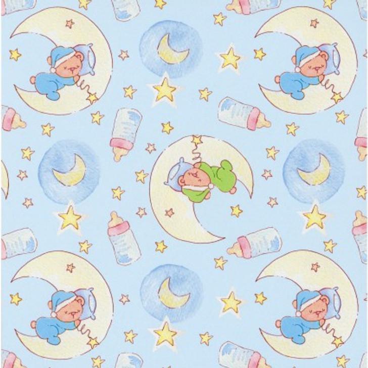 Bedtime Teddy Bear Sleepy Bear Moon and Stars FLANNEL Quilting Fabric 1/2 YARD