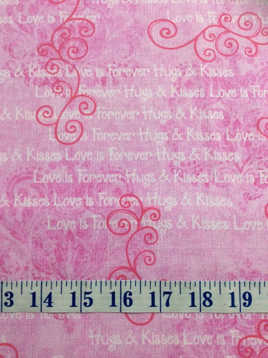 Hearts of Love Monotone Scrolls with Words Pink Cotton Quilting Fabric 1/2 YARD