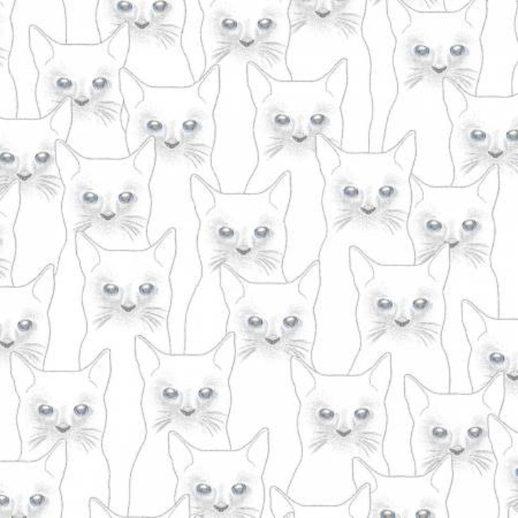 Cats Onyx Full Moon White Silver Metallic Outlines Cotton Quilting Fabric 1/2 YARD