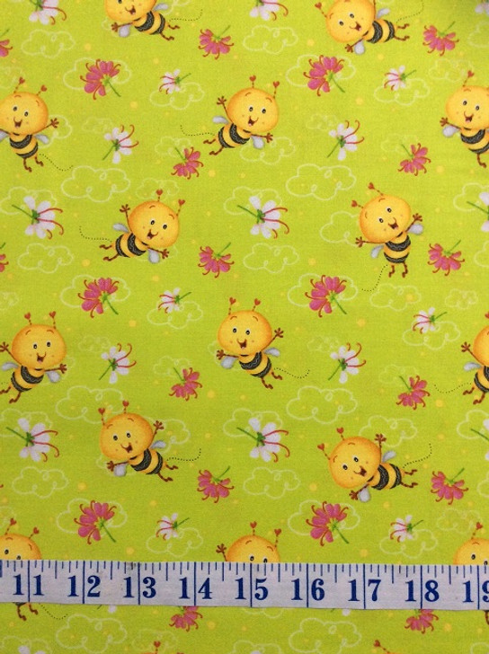 Busy Bees Allover Bees Green Cotton Quilting Fabric 1/2 YARD