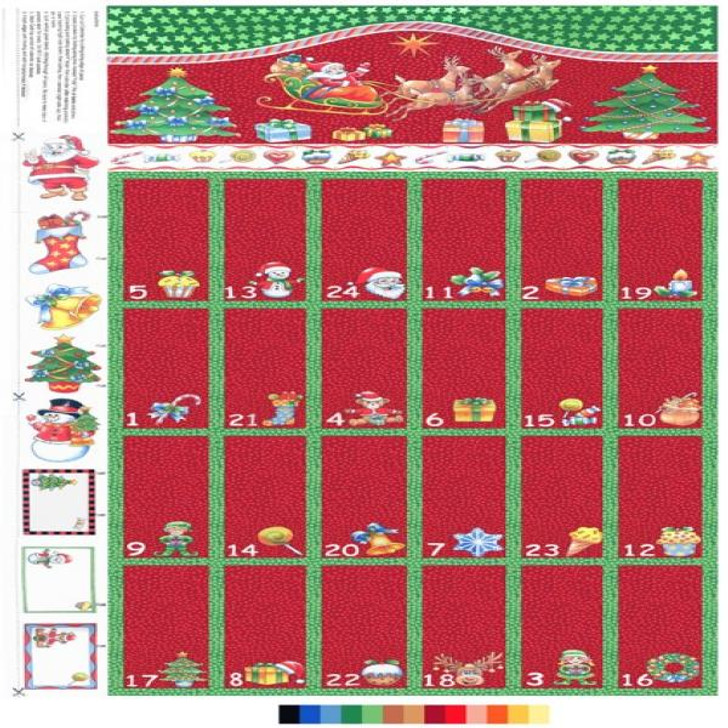 Father Christmas Santa Reindeer and Sleigh Advent Calendar Cotton Quilting Fabric Panel