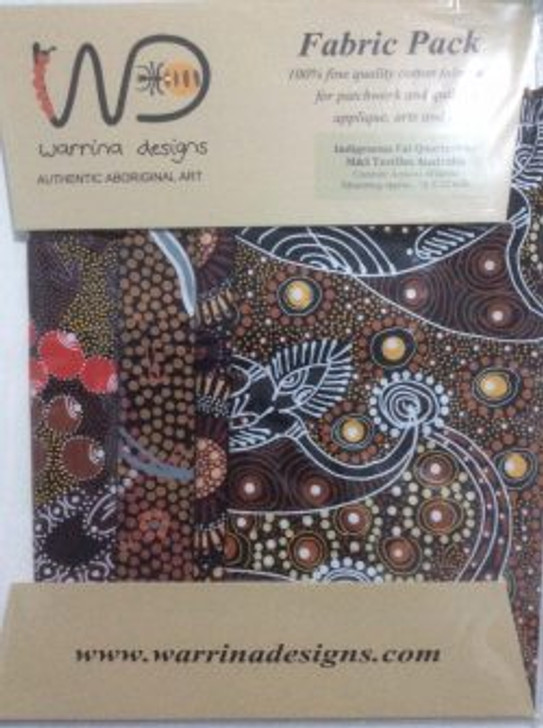 Australian Aboriginal Art Warrina Designs 4 Fat Quarters Cotton Quilting Fabric Pack 6