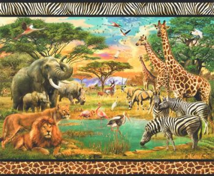 Picture This African Animals Scenic Lions Elephants Giraffes Cotton Quilting Fabric Panel