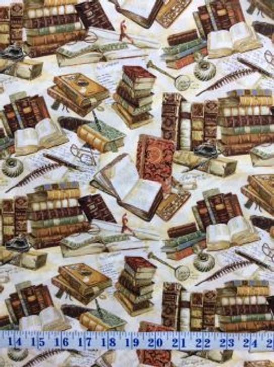 Books Victorian Vintage Parchment Pens Cotton Quilting Fabric 1/2 YARD