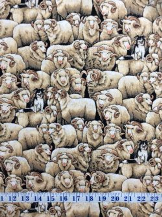 Merino Sheep Brown with Border Collie Dog Cotton Quilting Fabric 1/2 YARD