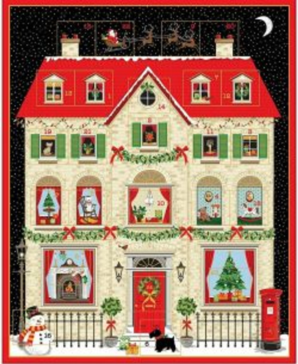 Christmas House Metallic Highlights Advent Calendar Cotton Quilting Fabric Panel