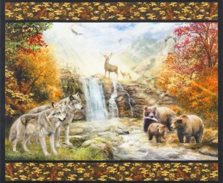 Picture This Nature Scenic Wolves Bears Deer Cotton Quilting Fabric Panel