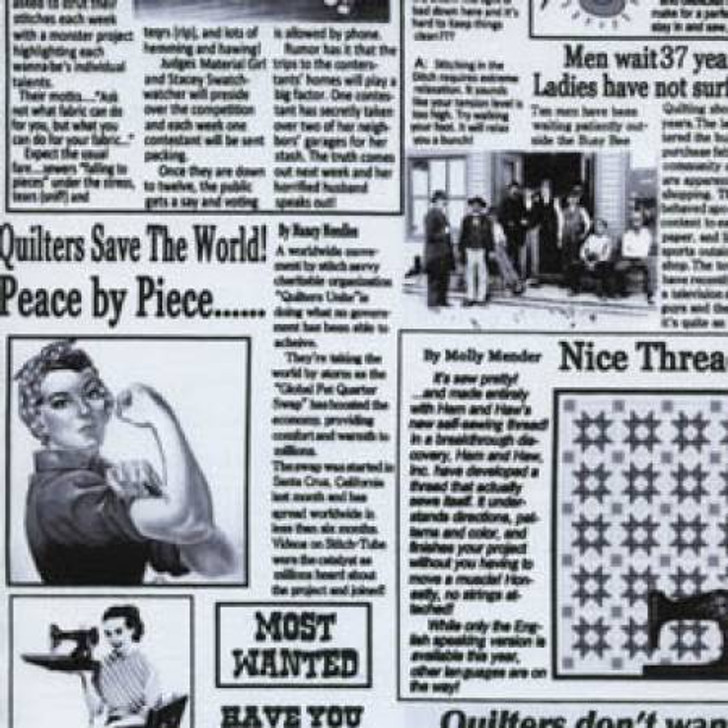 Quilting News Newspaper Print Cotton Quilting Fabric 1/2 YARD