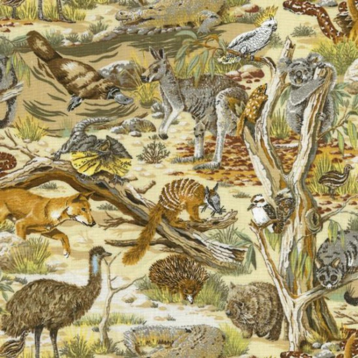 Australian Animals Echidna Dingo Kangaroo Koala Cotton Quilting Fabric 1/2 YARD