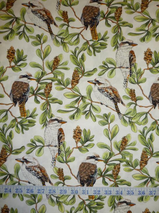 Kookaburras Allover Australian Gumtree Friends Cotton Quilting Fabric