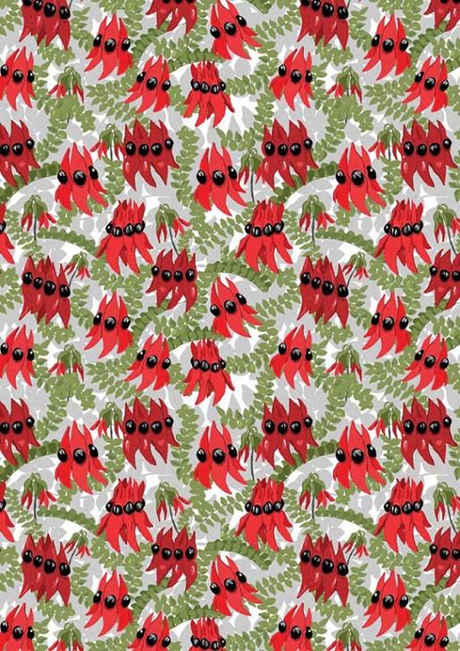 Aussie Flower Garden Desert Sturt Pea Cotton Quilting Fabric 1/2 YARD