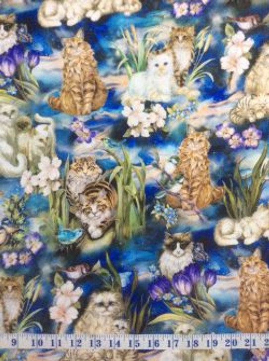 Garden Cats Be Pawsitive Flowers and Birds Cotton Quilting Fabric 1/2 YARD