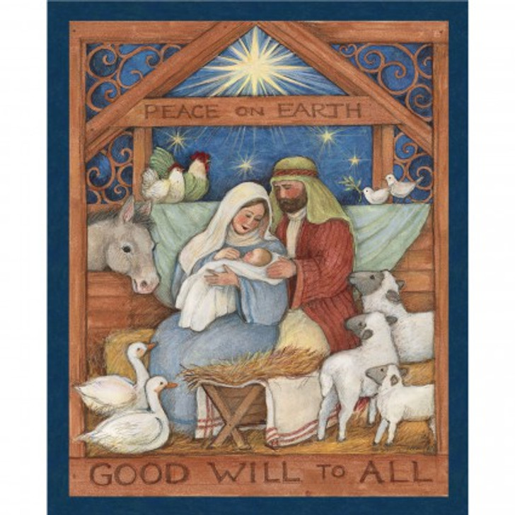 Christmas Good Will to All Nativity Scene Cotton Quilting Fabric Panel