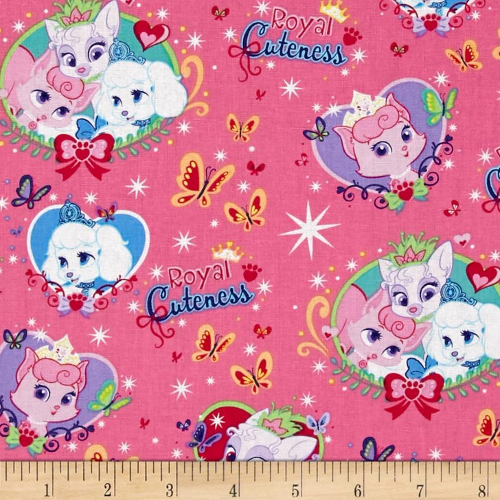 Disney Palace Pets Royal Cuteness Pink Background Cotton Quilting Fabric 1/2 YARD