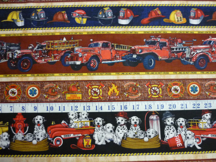 All Fired Up Tossed Firemen and Dalmatian Border Stripe Cream Cotton Quilting Fabric 1/2 YARD