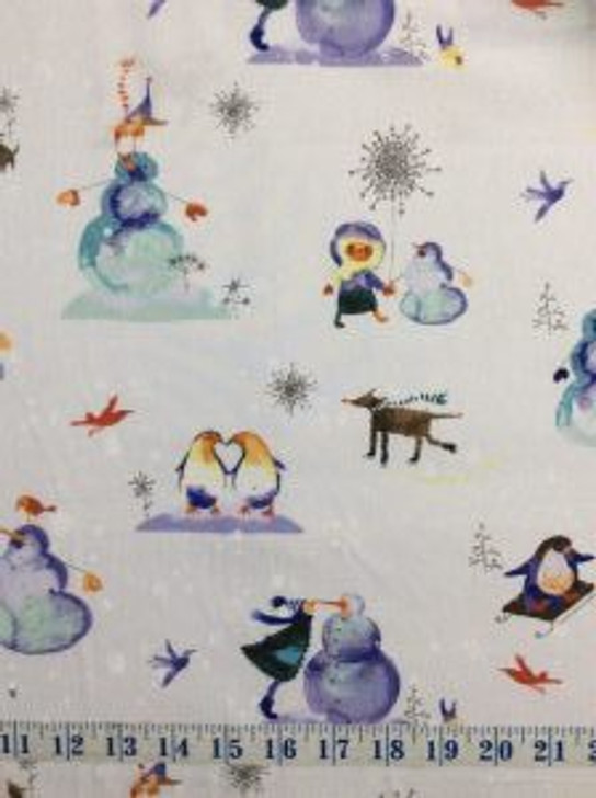 Winter Love Misty Grey Toile Cotton Quilting Fabric 1/2 YARD