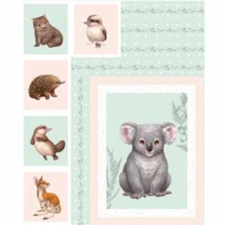 Australian Animals Little Aussie Friends DV3151 Cotton Quilting Fabric Panel