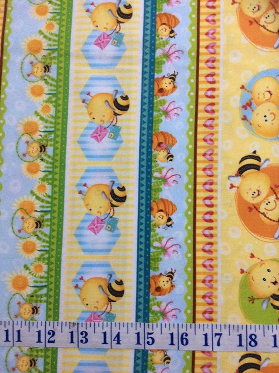 Busy Bees Novelty Bee Stripe Yellow Cotton Quilting Fabric 1/2 YARD