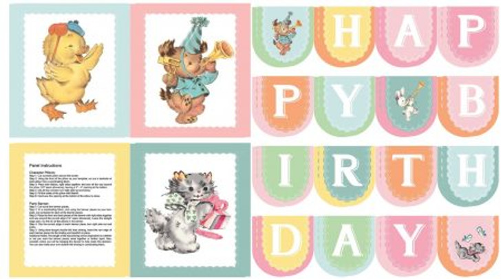 Perfect Party Kittens Ducklings Birthday Banner Cotton Quilting Fabric Panel