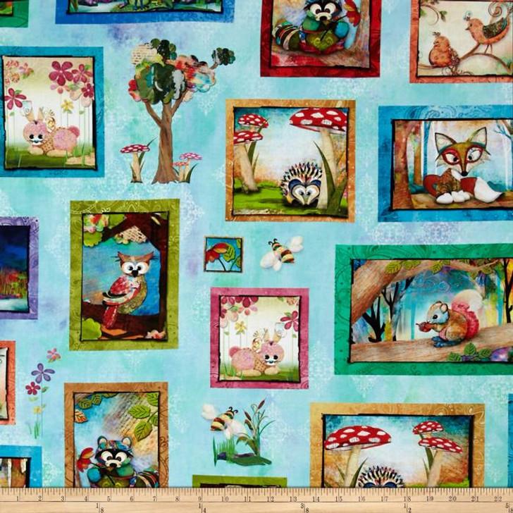 Digital Prints Skylines Woodland Patch Aqua Cotton Quilting Fabric 1/2 YARD