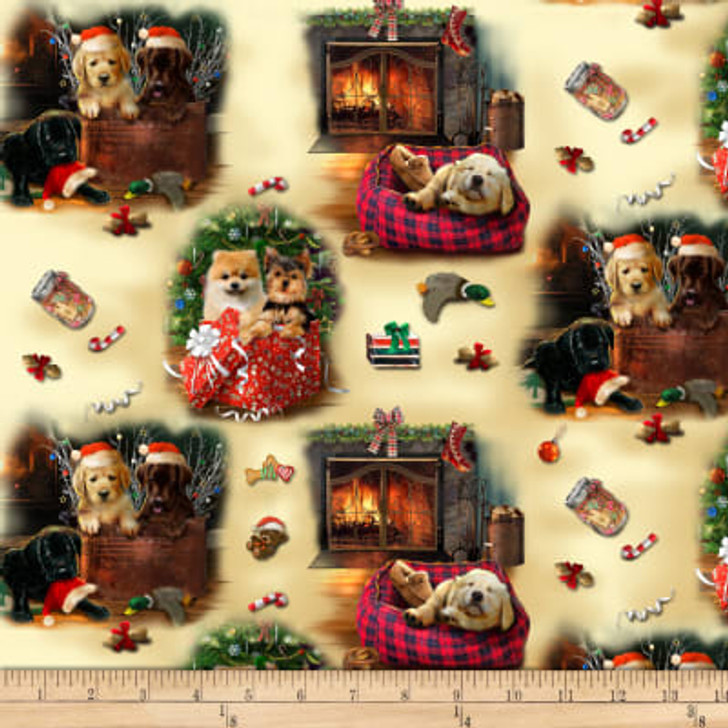 Christmas Dogs Fireside Pups Puppy Scenic Cream Cotton Quilting Fabric 1/2 YARD