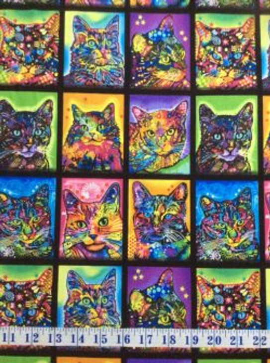 Crazy for Cats Patch Multi Cotton Quilting Fabric 1/2 YARD