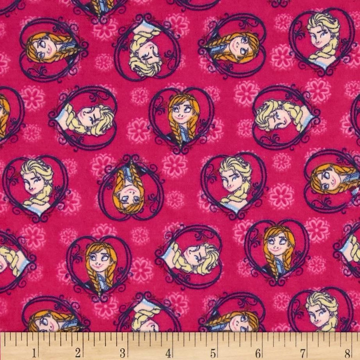 Disney Frozen Sisters Set Heart Pink Cotton FLANNEL Quilting Fabric 1/2 YARD